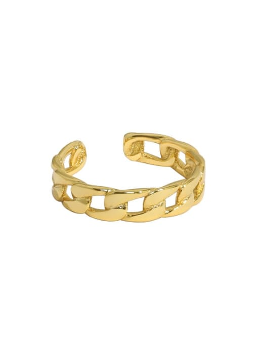 18K gold [11 adjustable] 925 Sterling Silver Geometric Chain Minimalist Band Ring